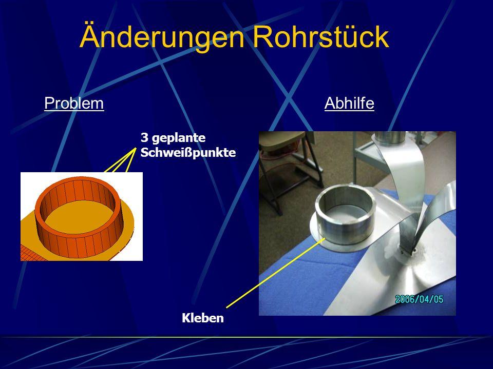 Änderungen Rohrstück Problem Abhilfe 3 geplante Schweißpunkte Kleben
