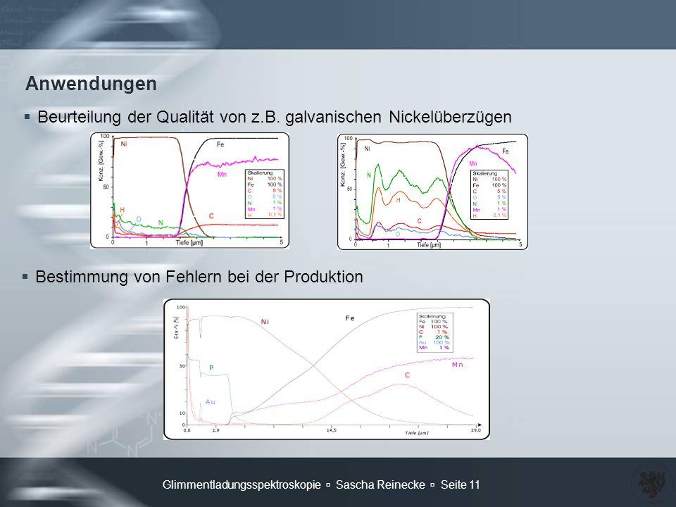 Anwendungen Beurteilung der Qualität von z.B. galvanischen Nickelüberzügen. Bestimmung von Fehlern bei der Produktion.
