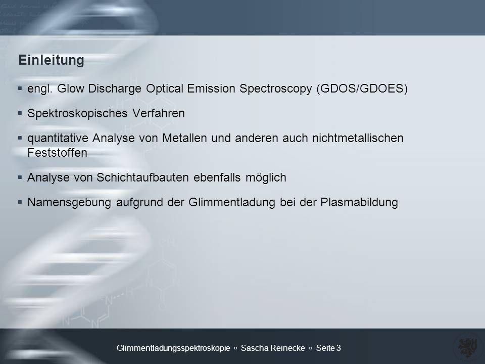 Einleitung engl. Glow Discharge Optical Emission Spectroscopy (GDOS/GDOES) Spektroskopisches Verfahren.
