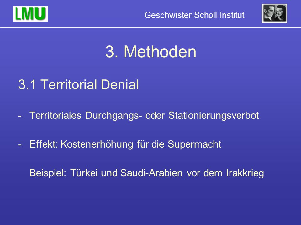 3. Methoden 3.1 Territorial Denial
