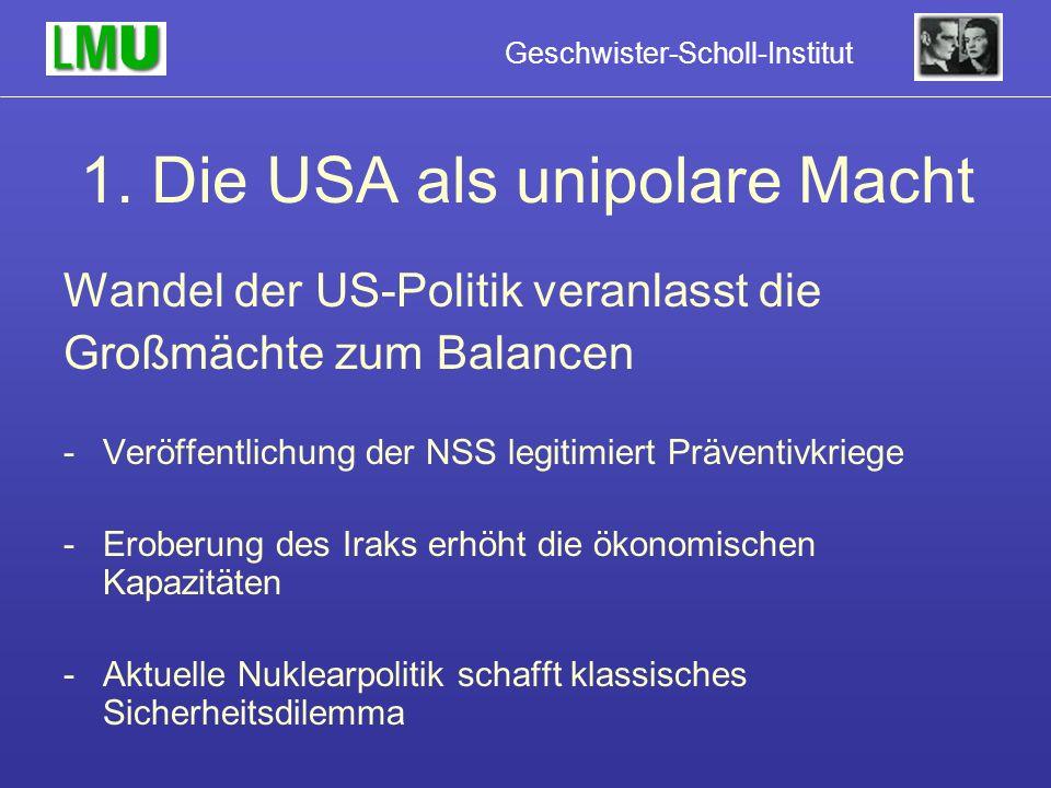1. Die USA als unipolare Macht