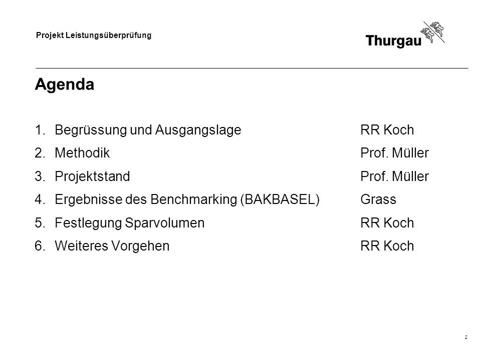 Agenda Begrüssung und Ausgangslage RR Koch Methodik Prof. Müller