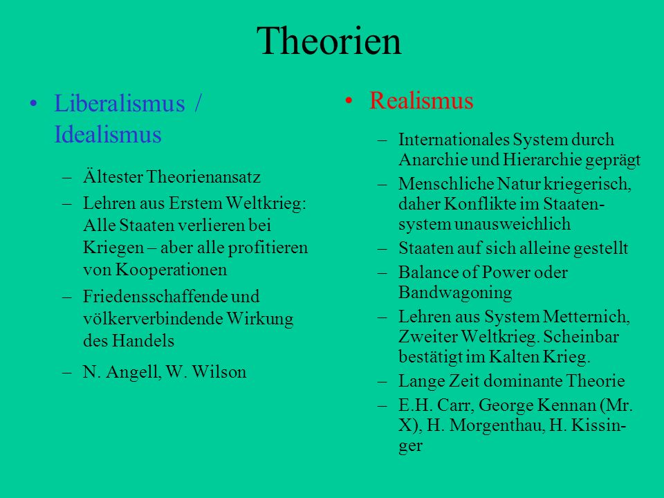 Theorien Liberalismus / Idealismus Realismus