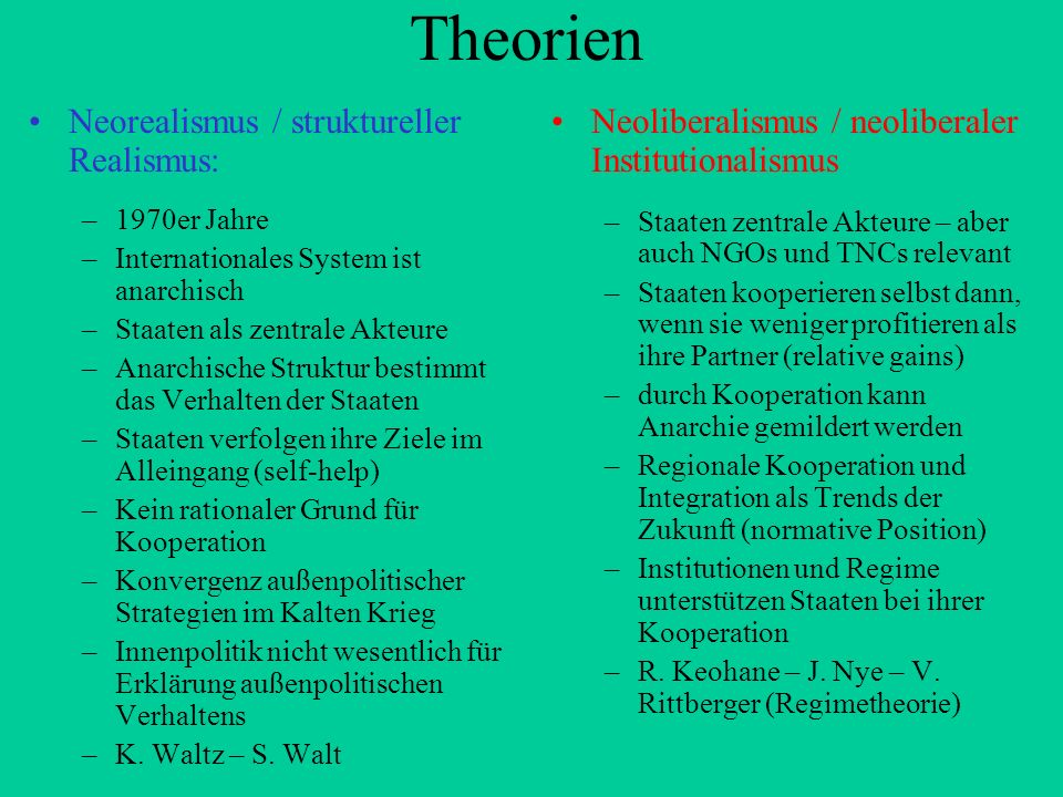 Theorien Neorealismus / struktureller Realismus: