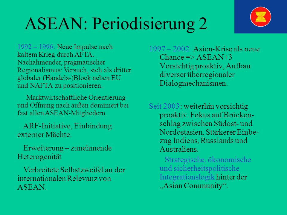 ASEAN: Periodisierung 2