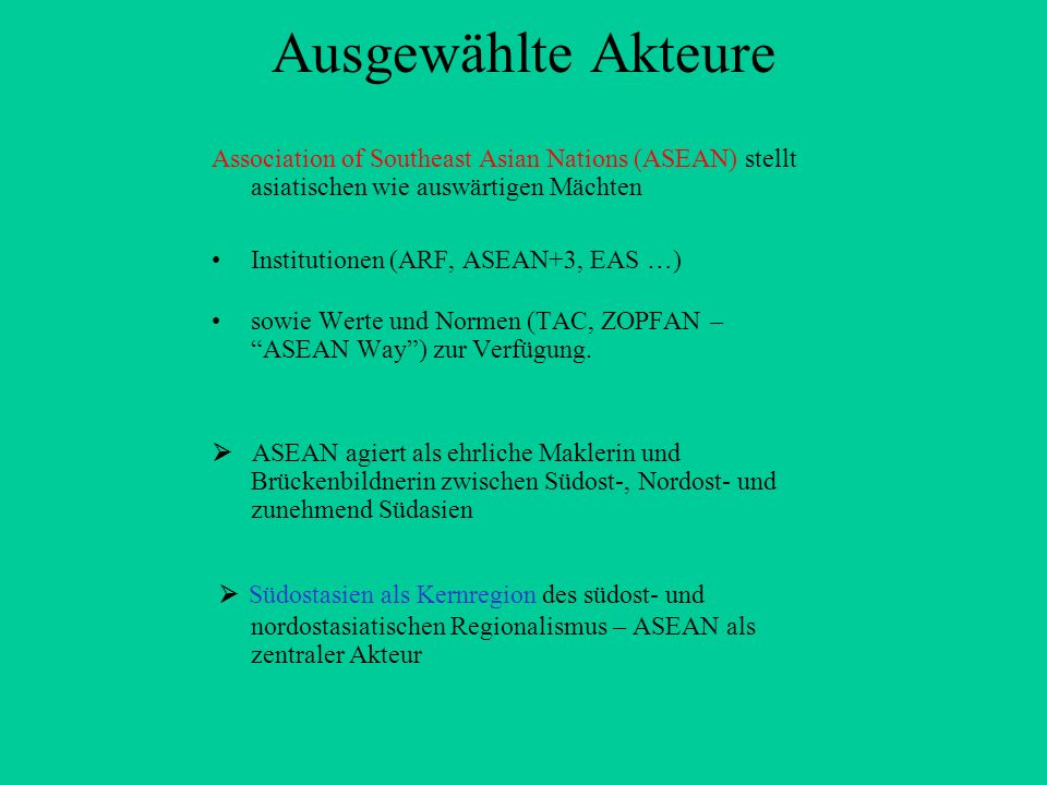 Ausgewählte Akteure Association of Southeast Asian Nations (ASEAN) stellt asiatischen wie auswärtigen Mächten.