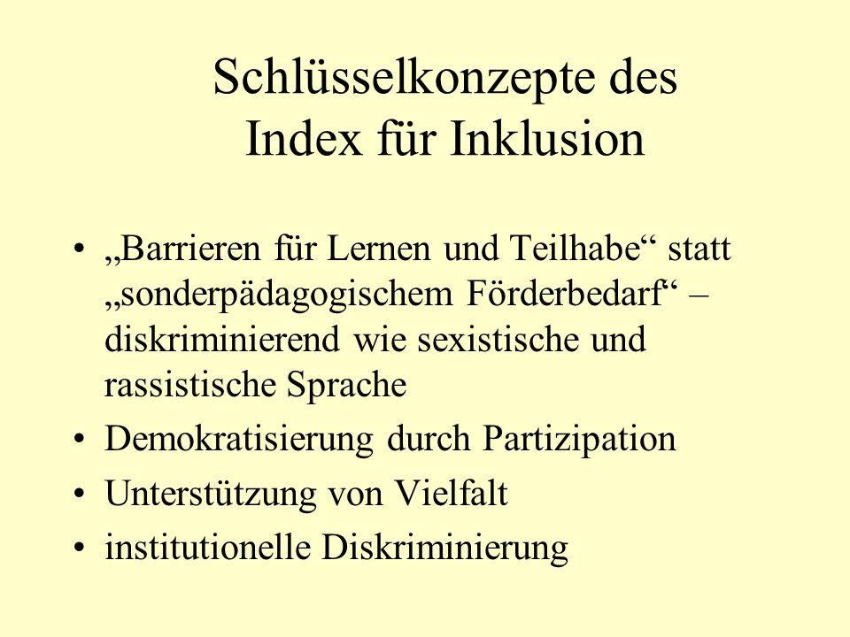 Schlüsselkonzepte des Index für Inklusion