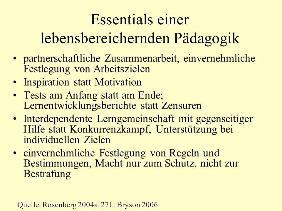Essentials einer lebensbereichernden Pädagogik