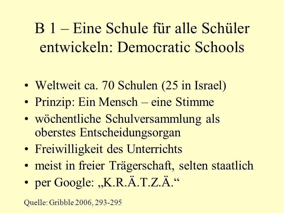 B 1 – Eine Schule für alle Schüler entwickeln: Democratic Schools