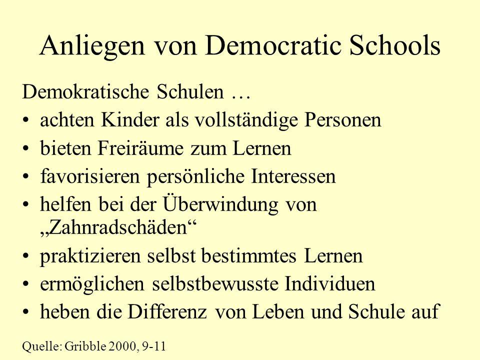 Anliegen von Democratic Schools