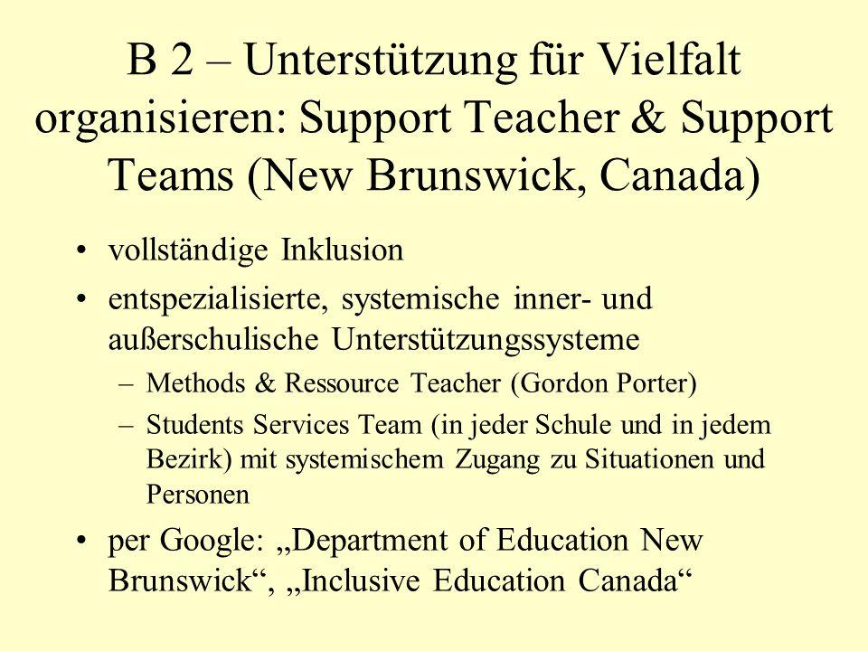 B 2 – Unterstützung für Vielfalt organisieren: Support Teacher & Support Teams (New Brunswick, Canada)