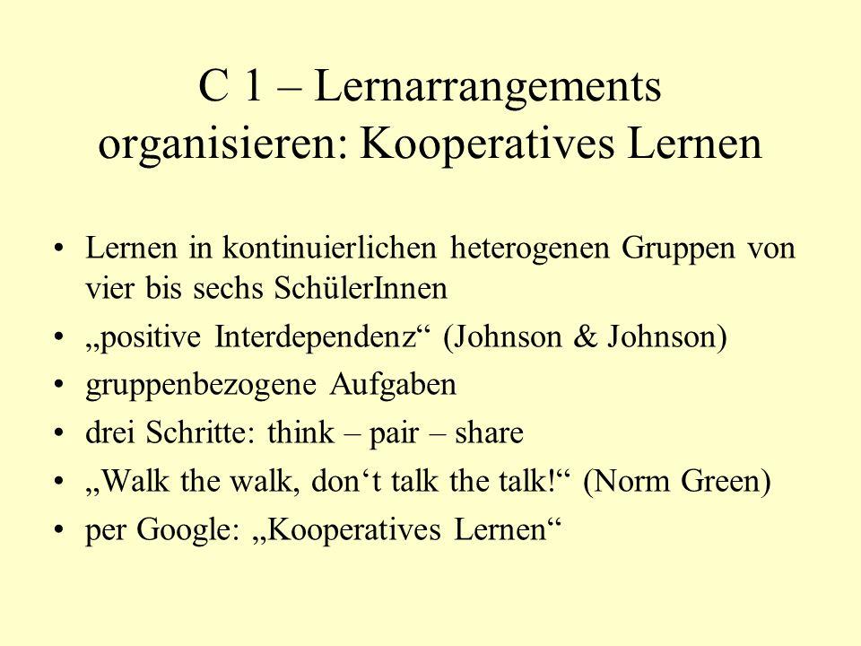 C 1 – Lernarrangements organisieren: Kooperatives Lernen