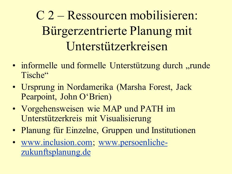 C 2 – Ressourcen mobilisieren: Bürgerzentrierte Planung mit Unterstützerkreisen