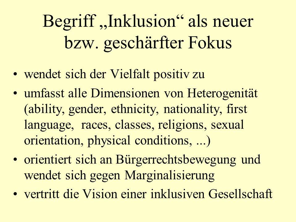 """Begriff """"Inklusion als neuer bzw. geschärfter Fokus"""
