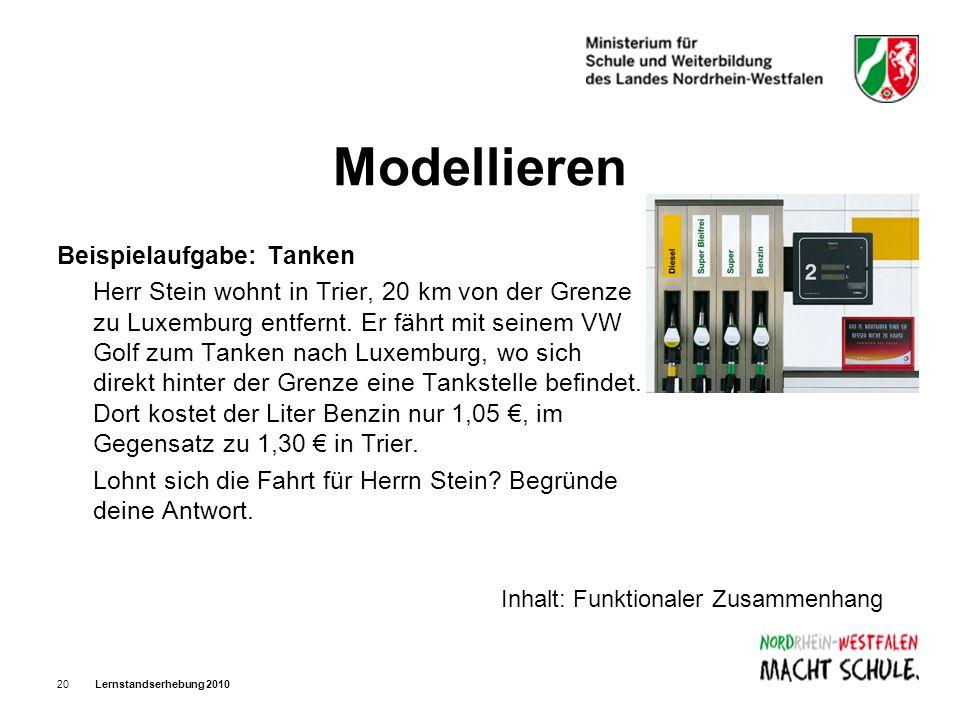 Modellieren Beispielaufgabe: Tanken
