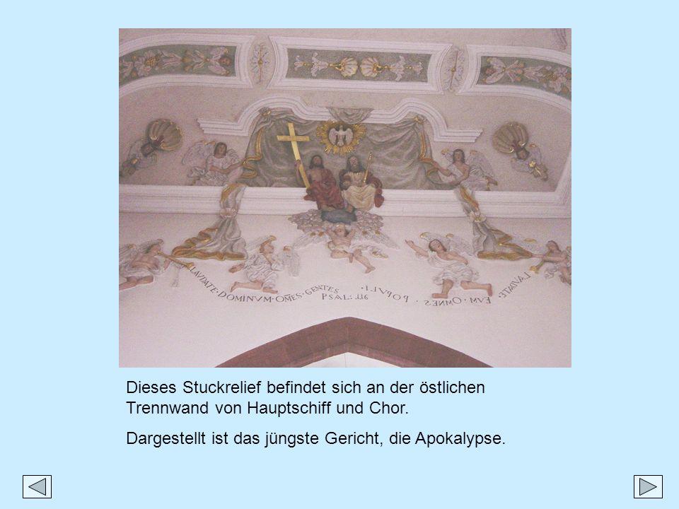 Dieses Stuckrelief befindet sich an der östlichen Trennwand von Hauptschiff und Chor.