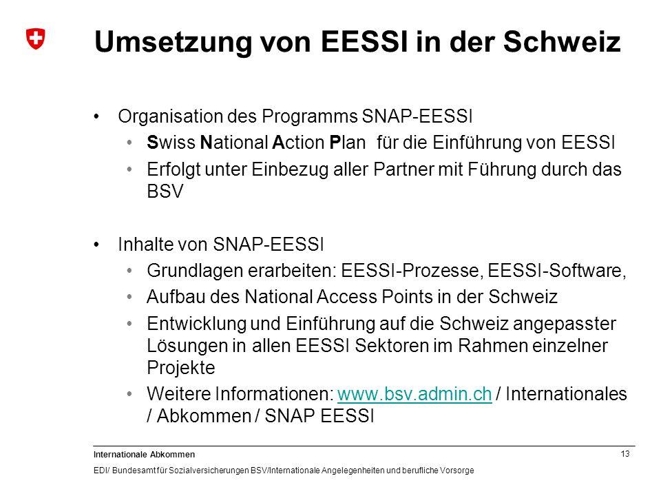Umsetzung von EESSI in der Schweiz