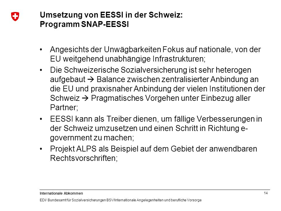 Umsetzung von EESSI in der Schweiz: Programm SNAP-EESSI