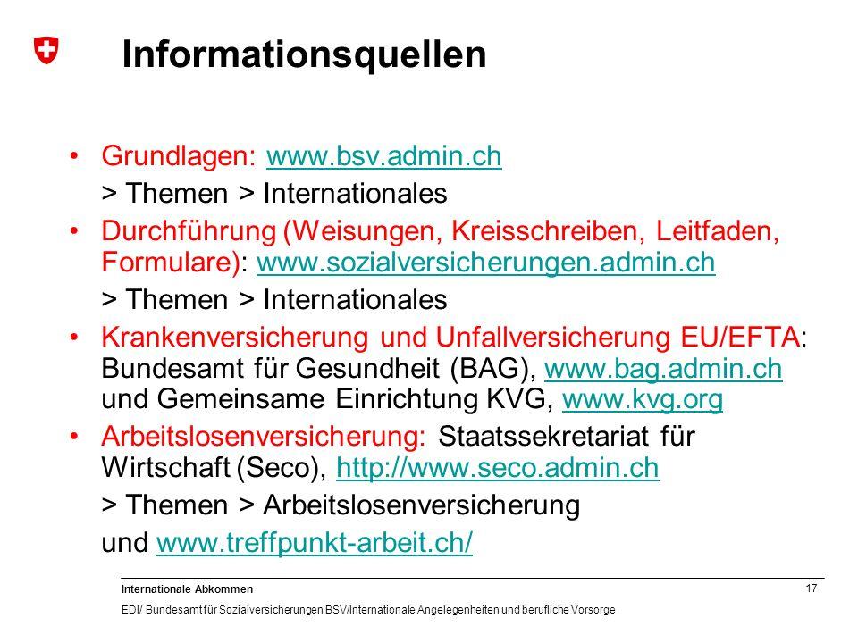 Informationsquellen Grundlagen: www.bsv.admin.ch