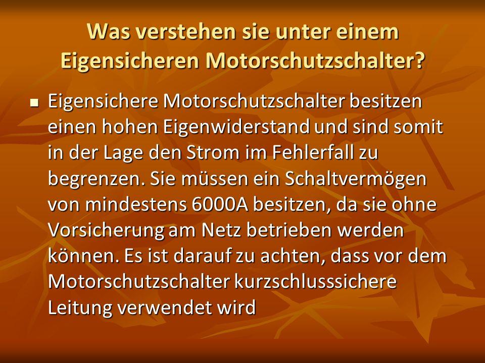 Was verstehen sie unter einem Eigensicheren Motorschutzschalter