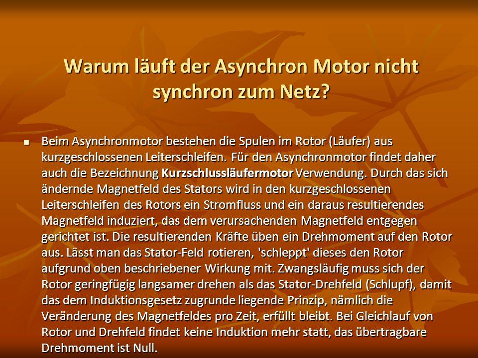 Warum läuft der Asynchron Motor nicht synchron zum Netz