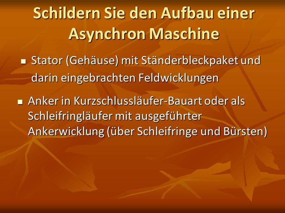 Schildern Sie den Aufbau einer Asynchron Maschine