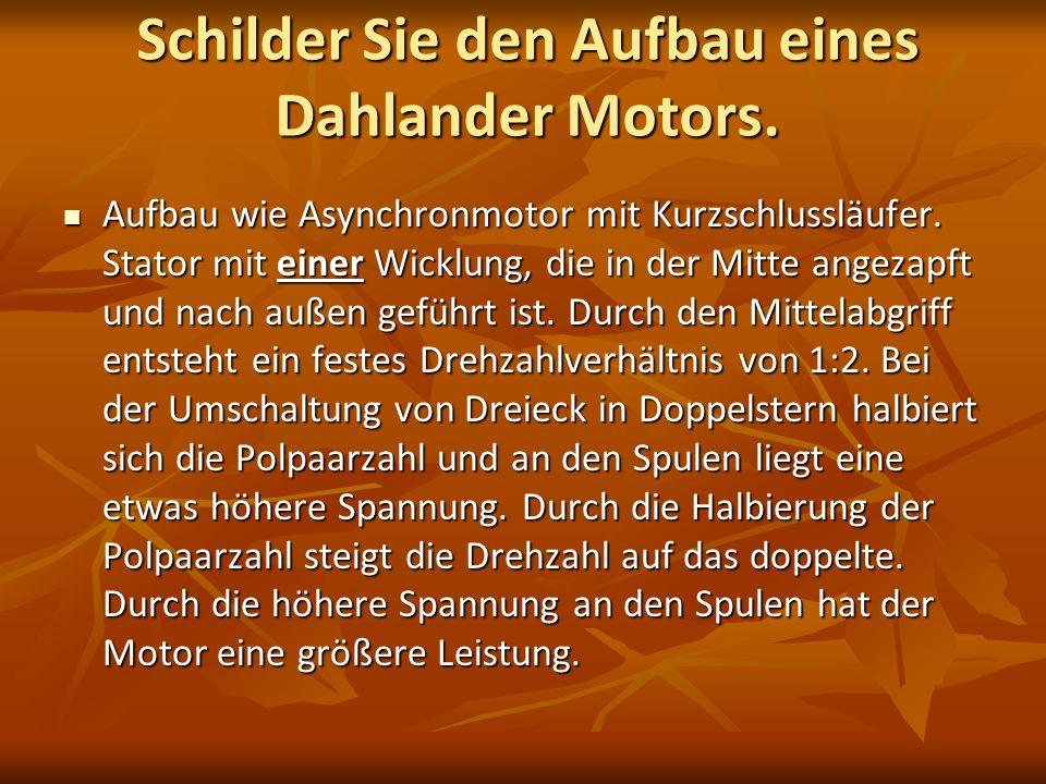 Schilder Sie den Aufbau eines Dahlander Motors.