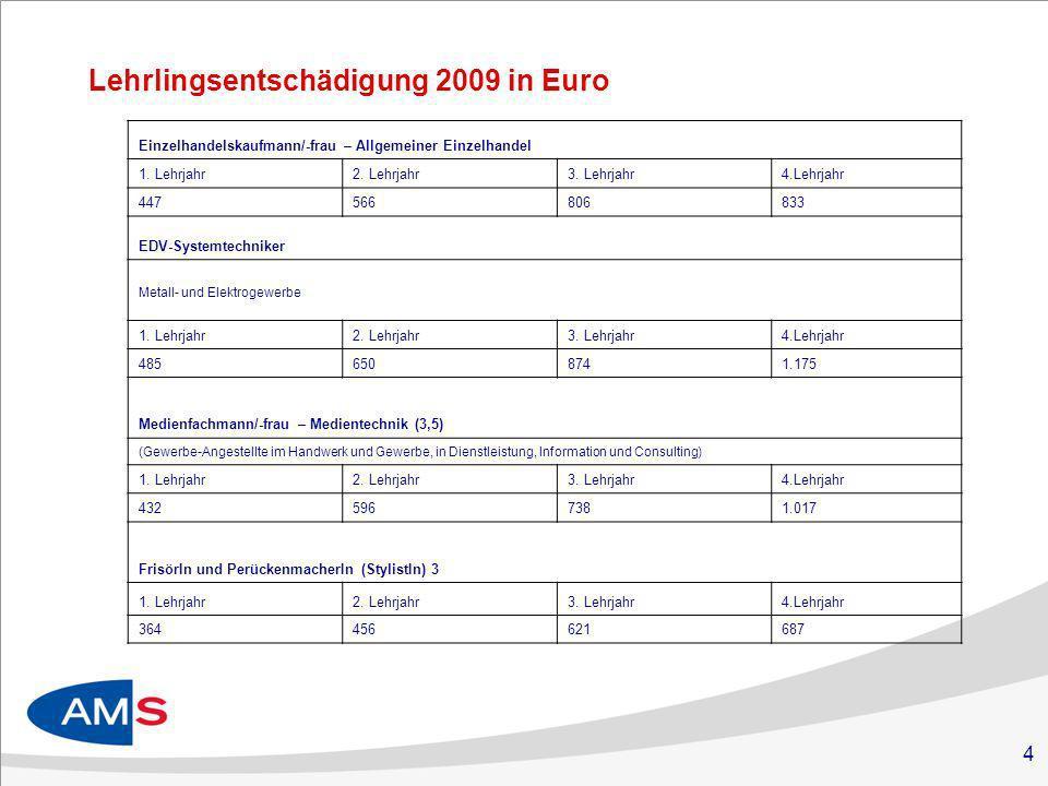 Lehrlingsentschädigung 2009 in Euro