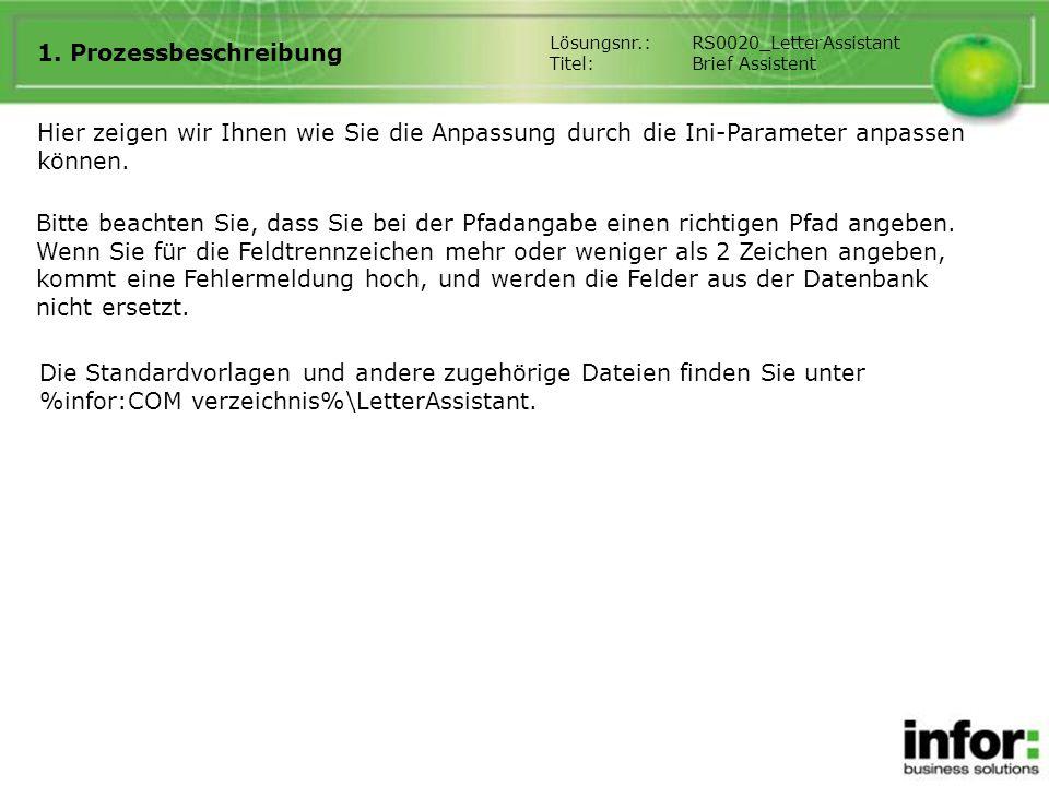 1. Prozessbeschreibung Lösungsnr.: RS0020_LetterAssistant. Titel: Brief Assistent.