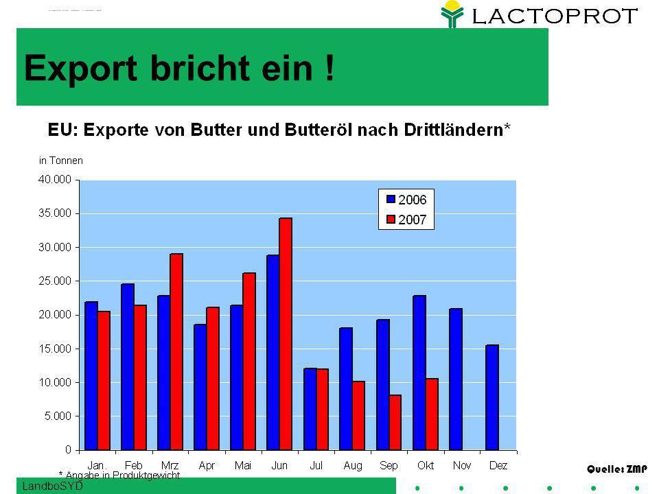 Export bricht ein ! Quelle: ZMP LandboSYD