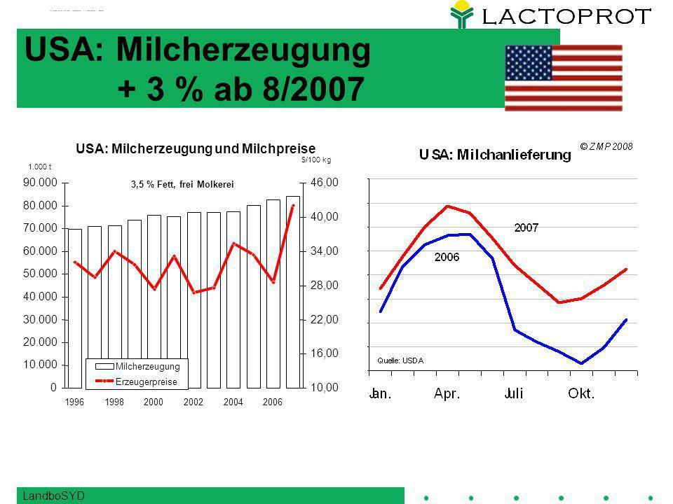 USA: Milcherzeugung + 3 % ab 8/2007