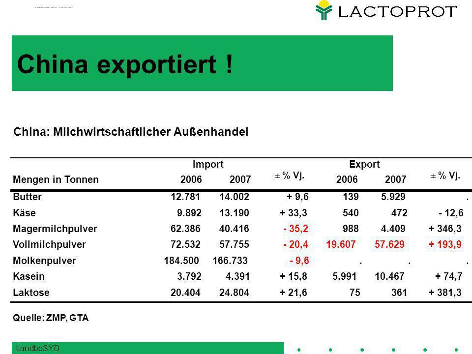 China exportiert ! China: Milchwirtschaftlicher Außenhandel Import