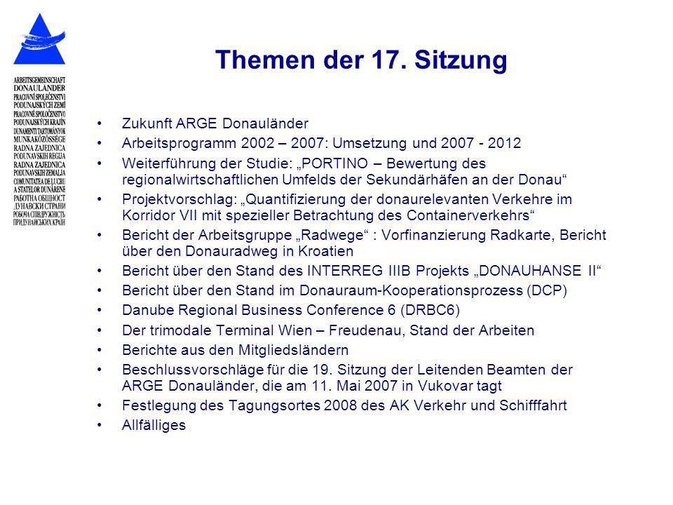 Themen der 17. Sitzung Zukunft ARGE Donauländer