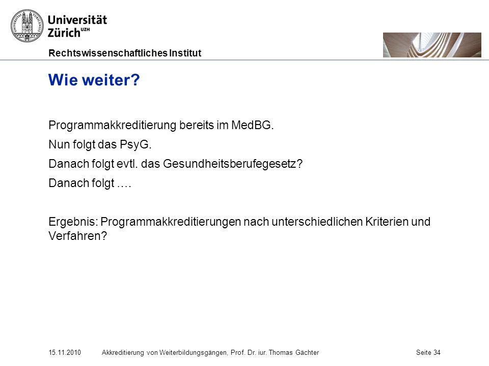 Wie weiter Programmakkreditierung bereits im MedBG.