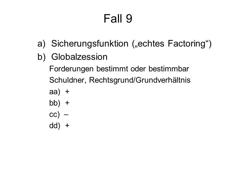 """Fall 9 Sicherungsfunktion (""""echtes Factoring ) Globalzession"""