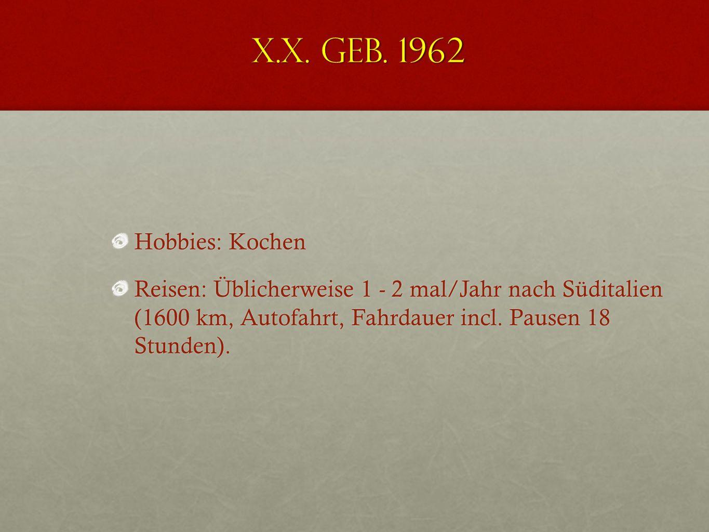 X.X. geb. 1962 Hobbies: Kochen.