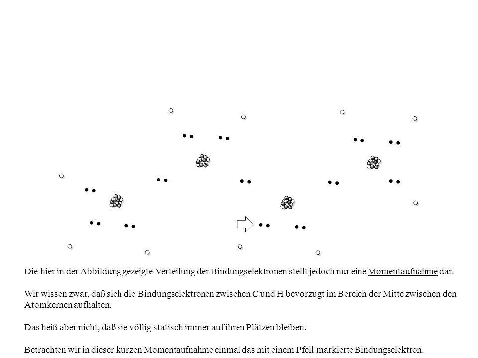 Die hier in der Abbildung gezeigte Verteilung der Bindungselektronen stellt jedoch nur eine Momentaufnahme dar.