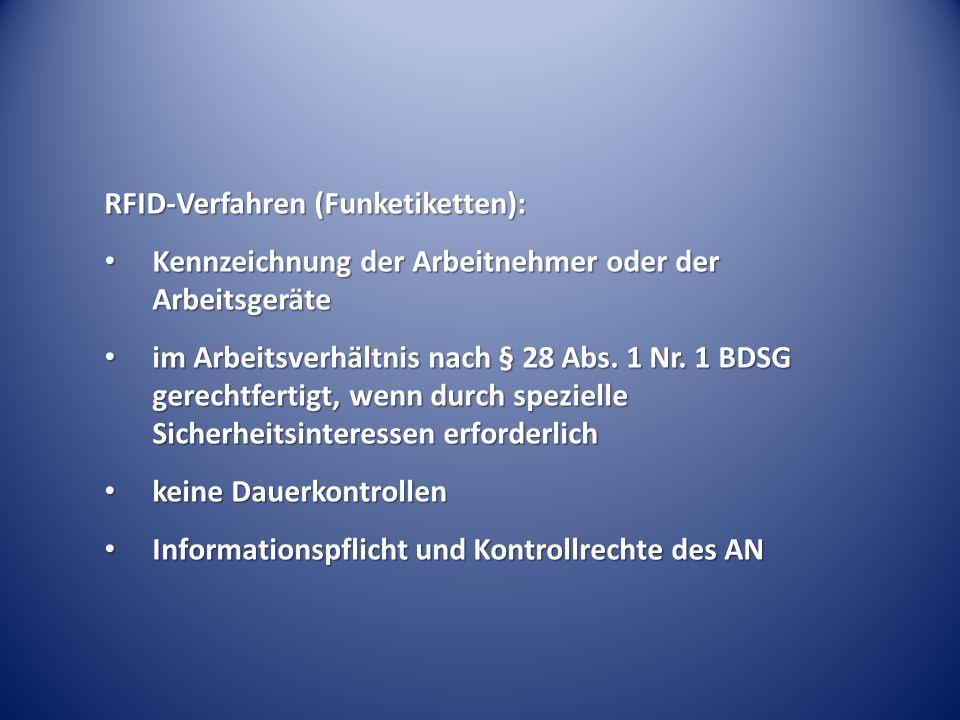 RFID-Verfahren (Funketiketten):