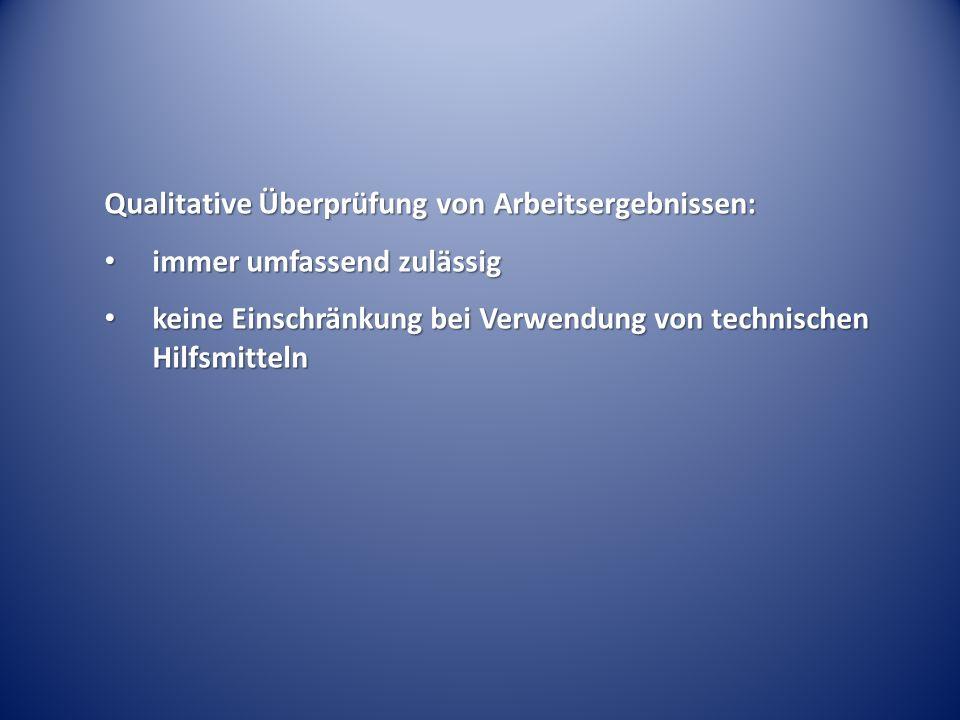 Qualitative Überprüfung von Arbeitsergebnissen: