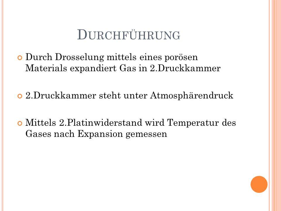 Durchführung Durch Drosselung mittels eines porösen Materials expandiert Gas in 2.Druckkammer. 2.Druckkammer steht unter Atmosphärendruck.