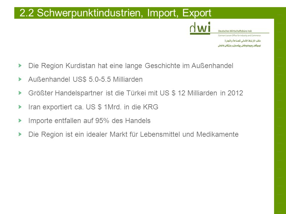 2.2 Schwerpunktindustrien, Import, Export
