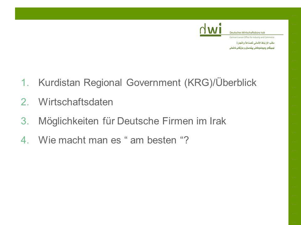Kurdistan Regional Government (KRG)/Überblick Wirtschaftsdaten