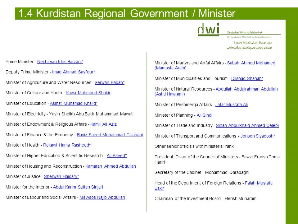 1.4 Kurdistan Regional Government / Minister