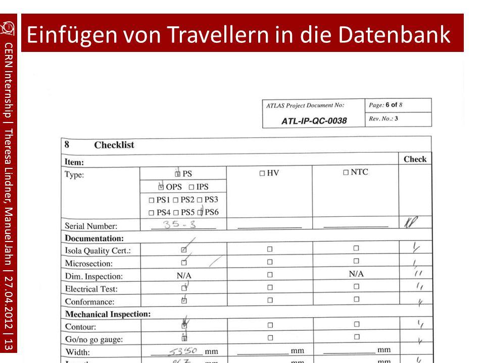 Einfügen von Travellern in die Datenbank