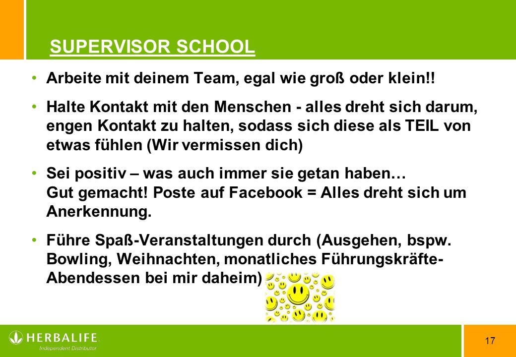 SUPERVISOR SCHOOL Arbeite mit deinem Team, egal wie groß oder klein!!