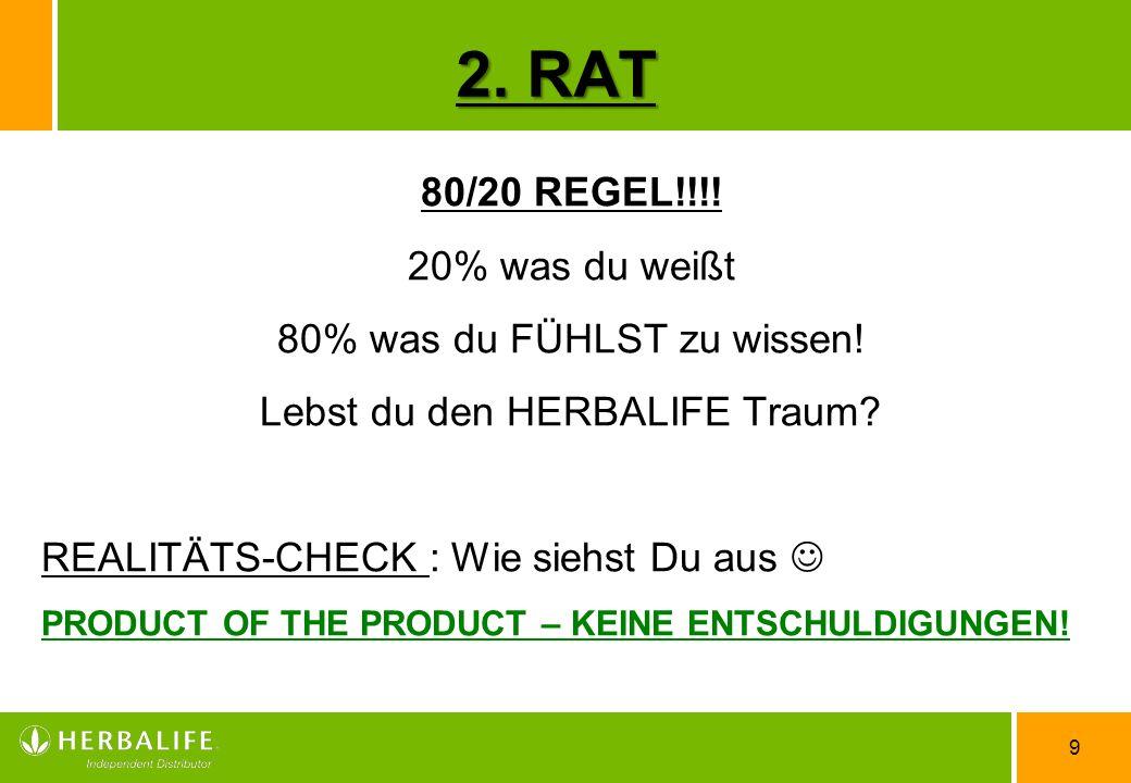 2. RAT 80/20 REGEL!!!! 20% was du weißt 80% was du FÜHLST zu wissen!