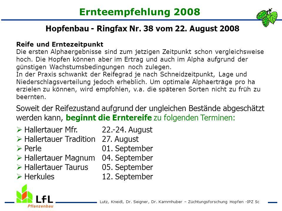 Hopfenbau - Ringfax Nr. 38 vom 22. August 2008