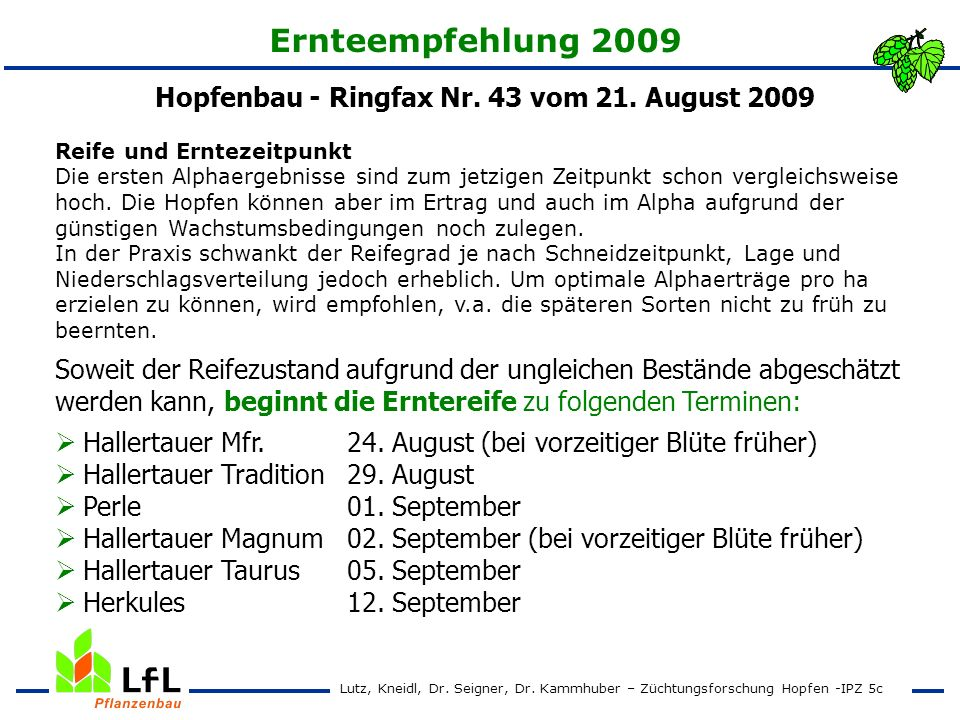 Hopfenbau - Ringfax Nr. 43 vom 21. August 2009