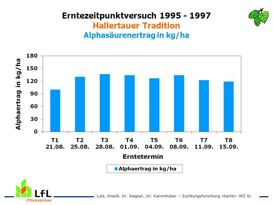 Erntezeitpunktversuch 1995 - 1997 Hallertauer Tradition Alphasäurenertrag in kg/ha