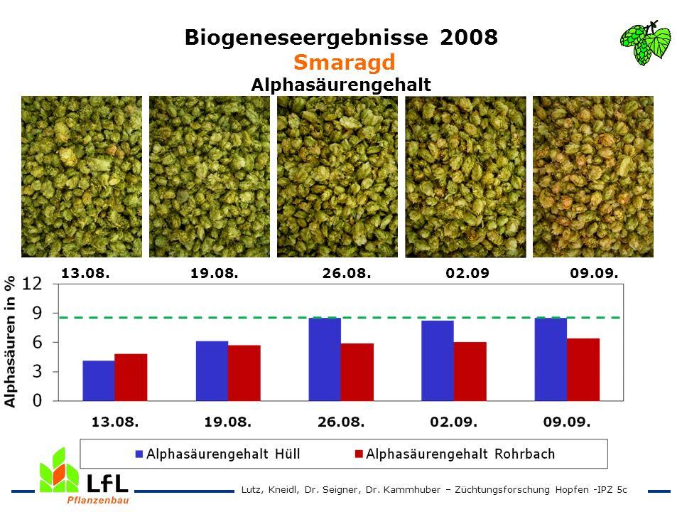 Biogeneseergebnisse 2008 Smaragd Alphasäurengehalt